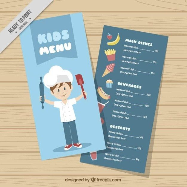 Kids menu template with chef Vector | Free Download