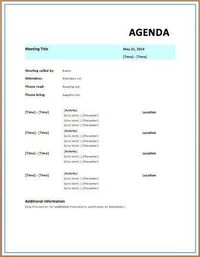 9 Free Meeting Agenda TemplateAgenda Template Sample | Agenda ...