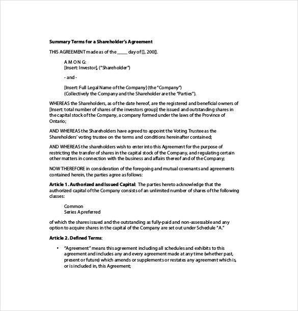 Shareholder Agreement Template – 8+ Free Word, PDF Document ...