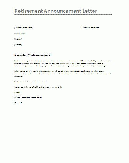 Retirement Announcement Letter Template | Formsword: Word ...