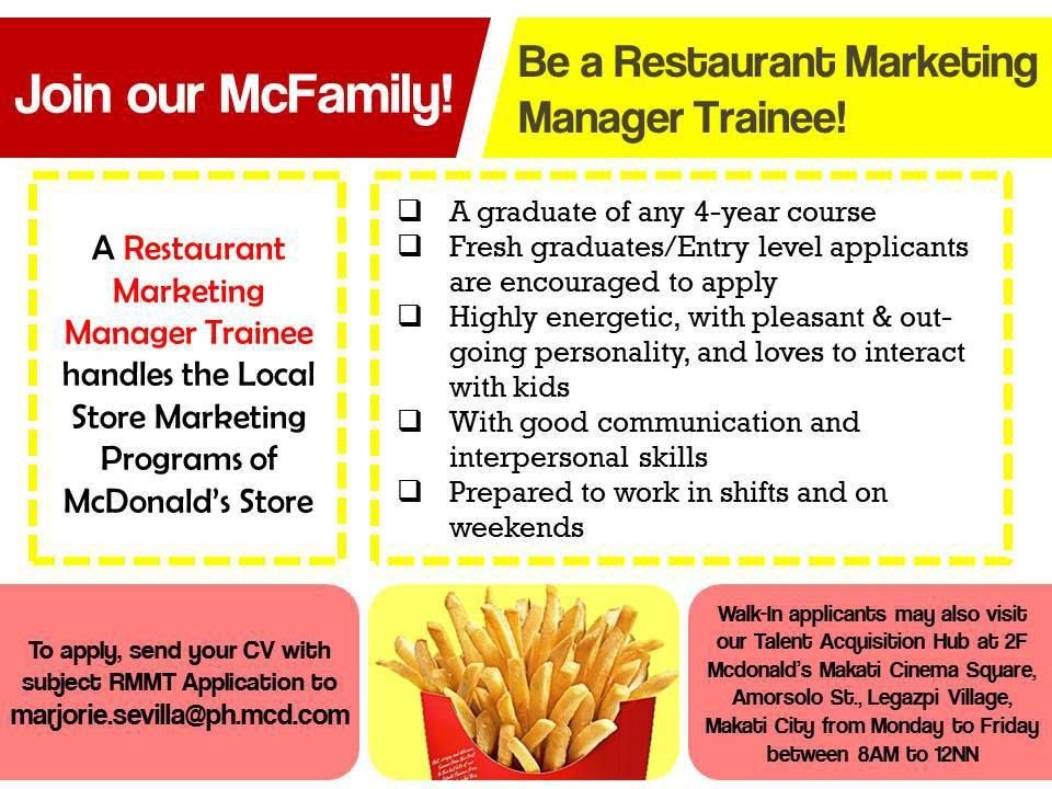 Restaurant Marketing Manager Trainee