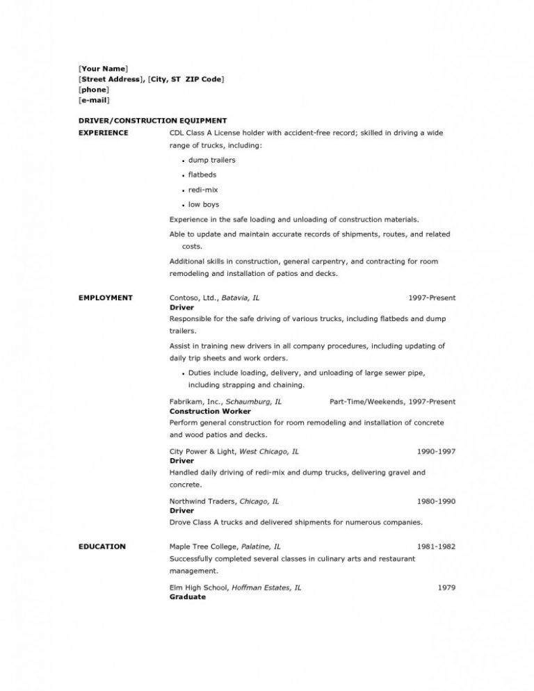 Ingenious Inspiration Ideas Forklift Driver Resume 11 Free Sample ...