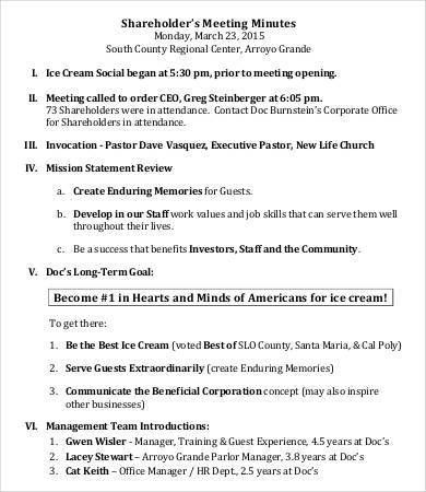 Shareholder Meeting Minutes Templates - 7+ Free Word, PDF Format ...