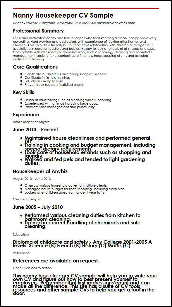 Nanny Housekeeper CV Sample | MyperfectCV