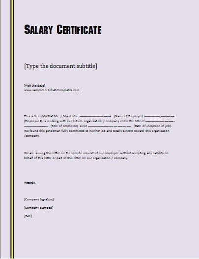 Salary certificate format download download salary certificate salary certificate format formsword word templates sample forms yelopaper
