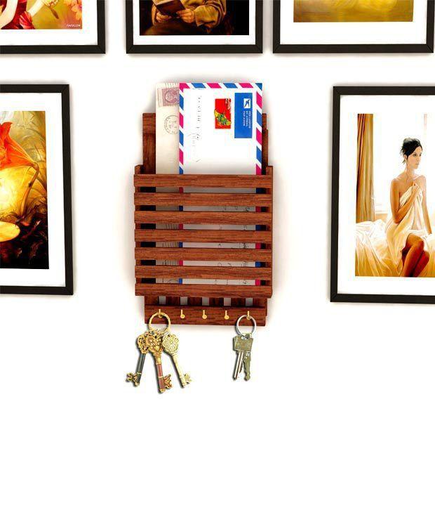 Home Sparkle Wooden Letter Rack Cum Key Holder: Buy Home Sparkle ...