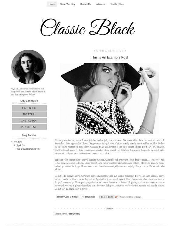Fashion Blogger Template Simple Clean Minimalist Modern Blog