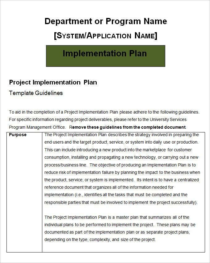 Project Implementation Plan Template - Free Word, Excel Documents ...