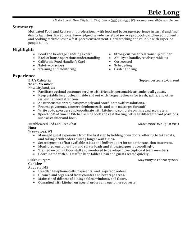 Impactful Professional Food & Restaurant Resume Examples ...