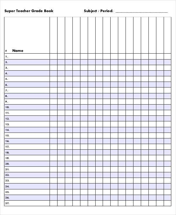 Grade Book Template - 7+ Free Excel, PDF Documents Download | Free ...