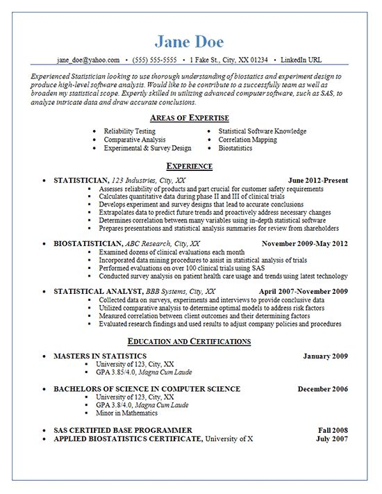 Statistician Resume Example - Statistics, Experimental Design and ...