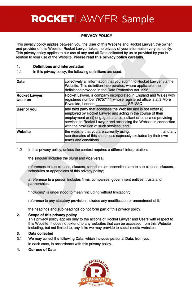 Privacy policy template sample privacy policy template termsfeed privacy policy create a data protection policy online pronofoot35fo Image collections