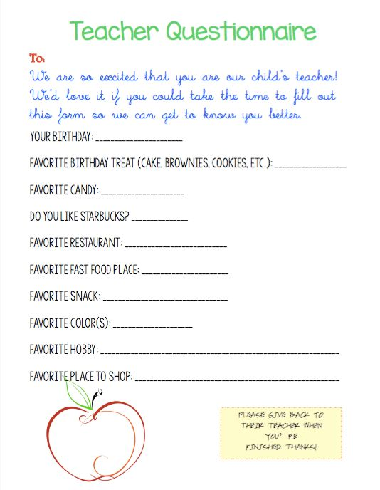 Getting to Know Your Teacher Questionnaire {*FREE* Printable!}  