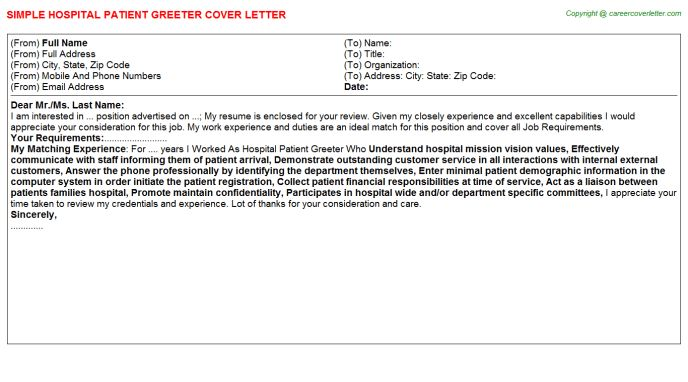 Hospital Patient Greeter Cover Letter
