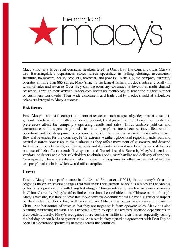 The appeal of macy's executive summary