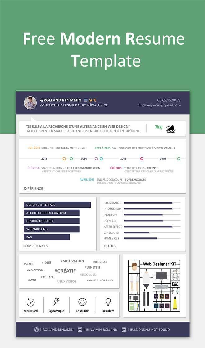 Free Modern Resume PSD Template – Download