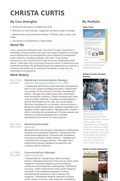 Marketing U0026 Communications Manager Resume Samples   VisualCV .  Communications Manager Resume