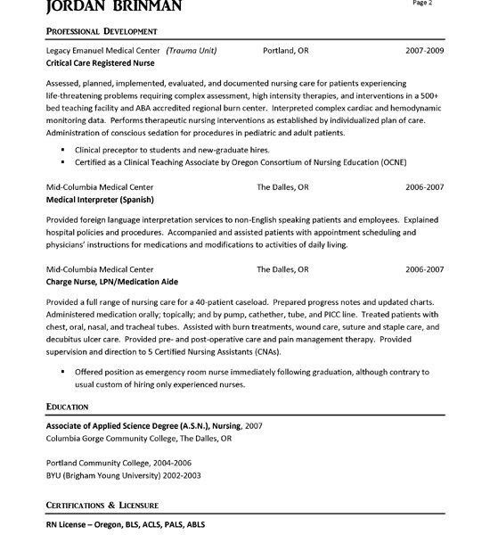 Nobby Design Ideas Rn Sample Resume 16 ER Nurse Resume Example ...