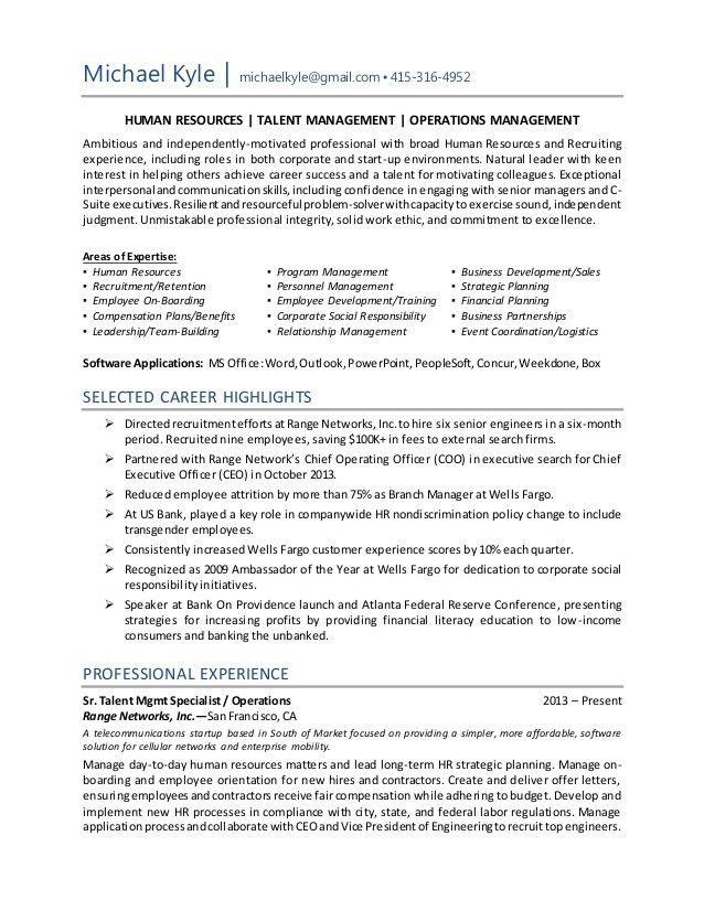 Michael Kyle Resume HR Operations Generalist