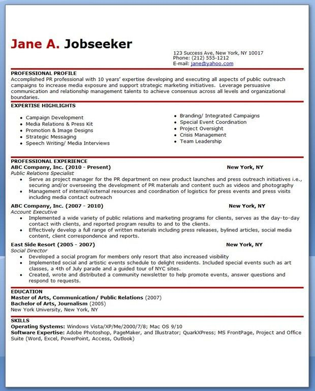 Sample Public Relations Resume - http://exampleresumecv.org/sample ...