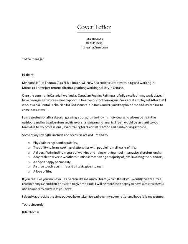 Rita CV & Cover letter combo