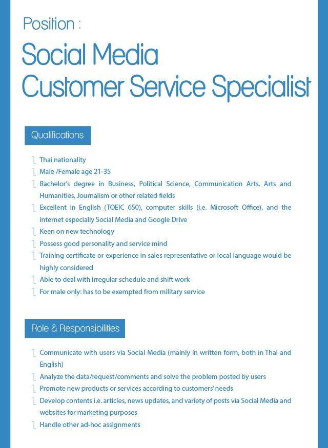 Social Media Customer Service Specialist - imcthai