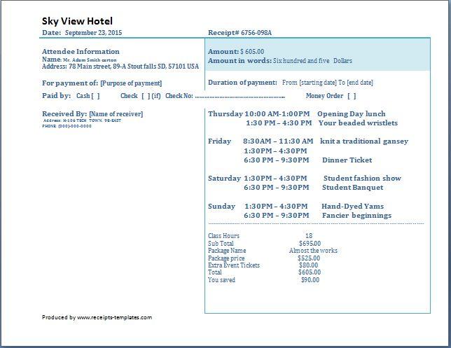Hotel Receipt Template Free | Receipt Templates