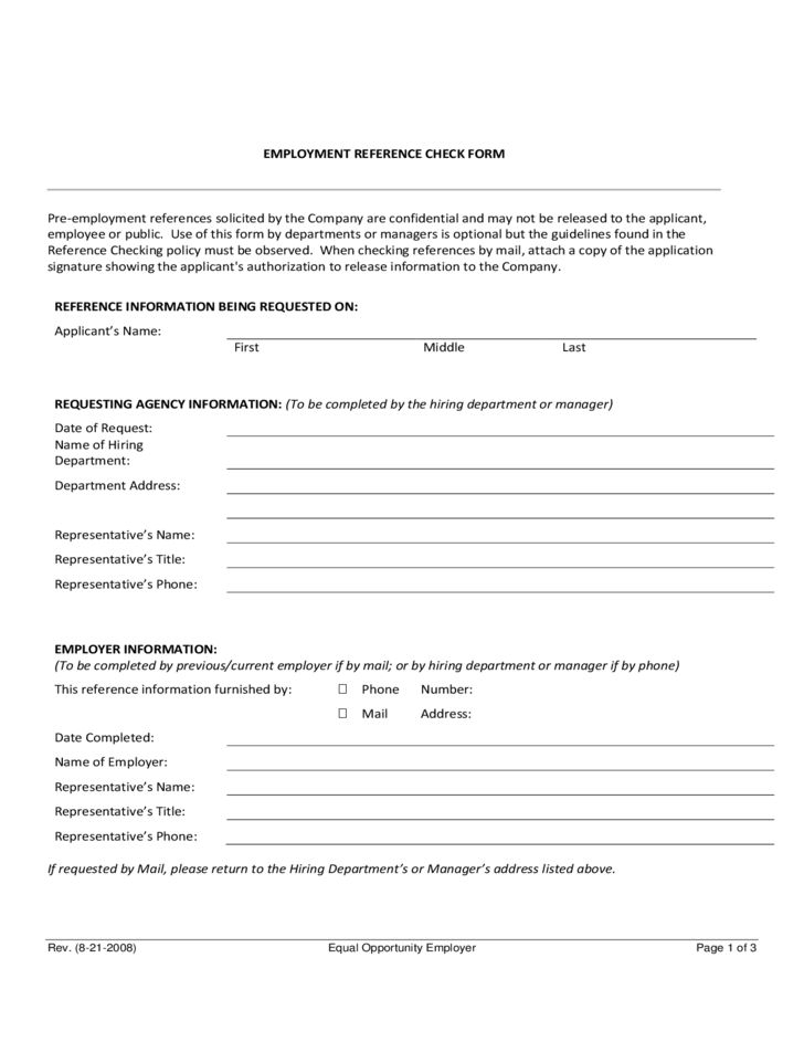 Noncomplete Employee Reference Check Form Free Download