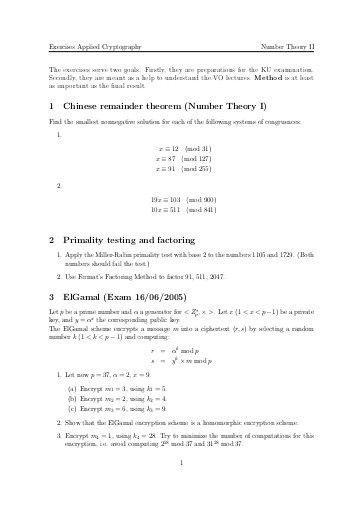 Chinese Remainder Theorem Exercises