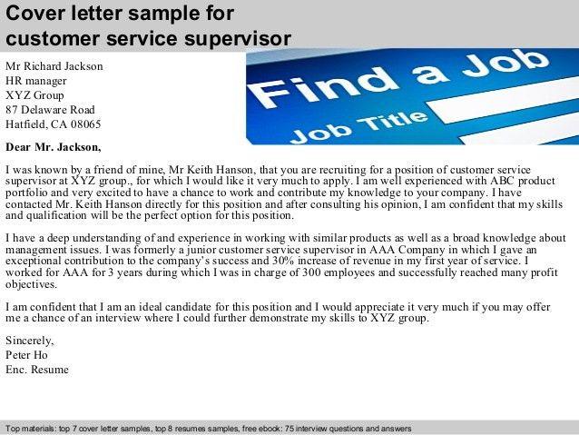 Customer service supervisor cover letter