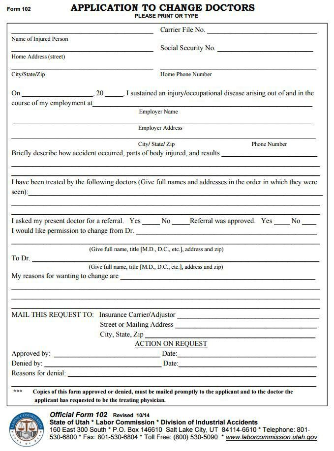 Free Utah Application to Change Doctors (Form 102) | PDF Template ...