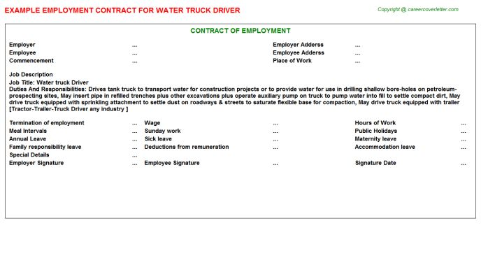 Water Truck Driver Employment Contract