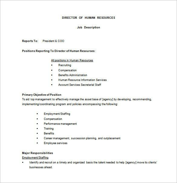 Human Resource Job Description Template – 9+ Free Word, PDF Format ...