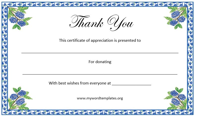 Printable Thank You Certificate | Microsoft Word Templates