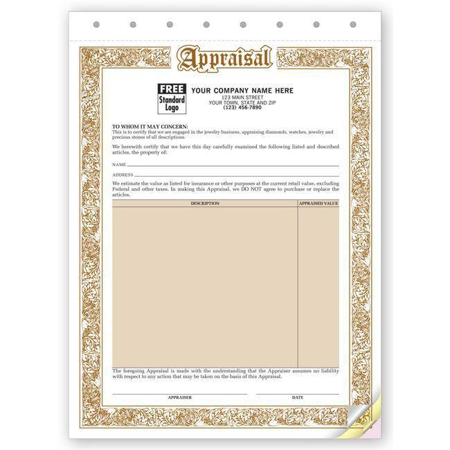 """128 Jewelry Appraisal Form 8 1/2 x 11"""""""