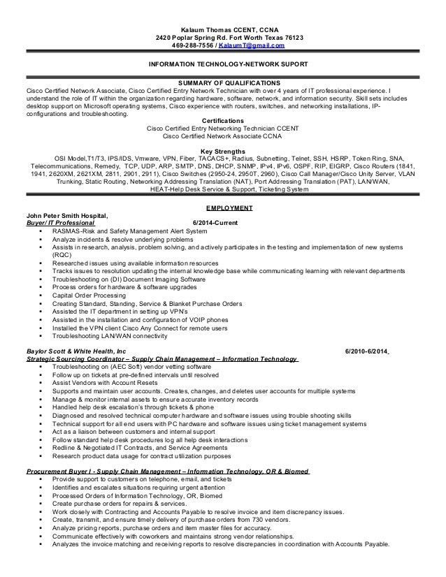 Kalaum Thomas IT- Network Support Resume