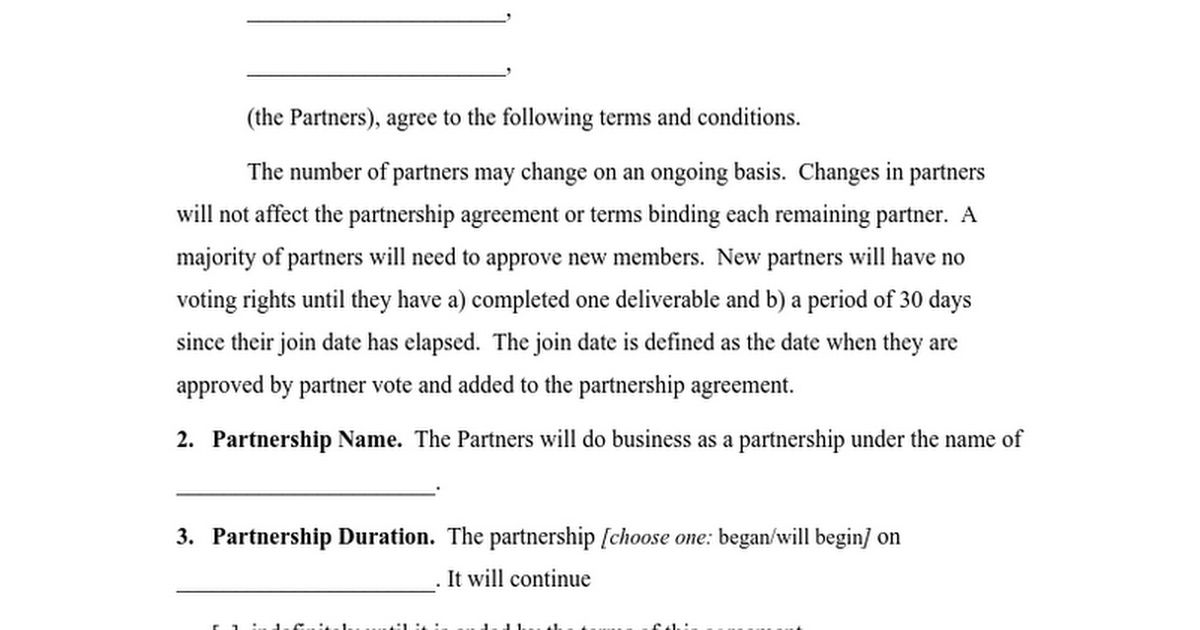 Partnership Agreement - Google Docs
