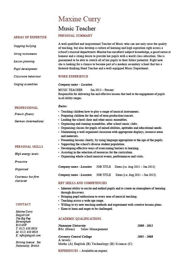 Music Resume Template | health-symptoms-and-cure.com