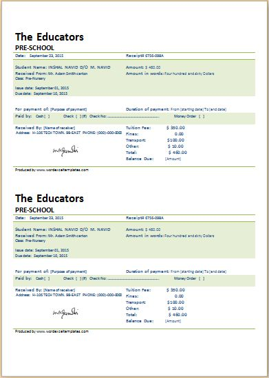 SCHOOL FEE PAYMENT RECEIPT for Word | Word & Excel Templates