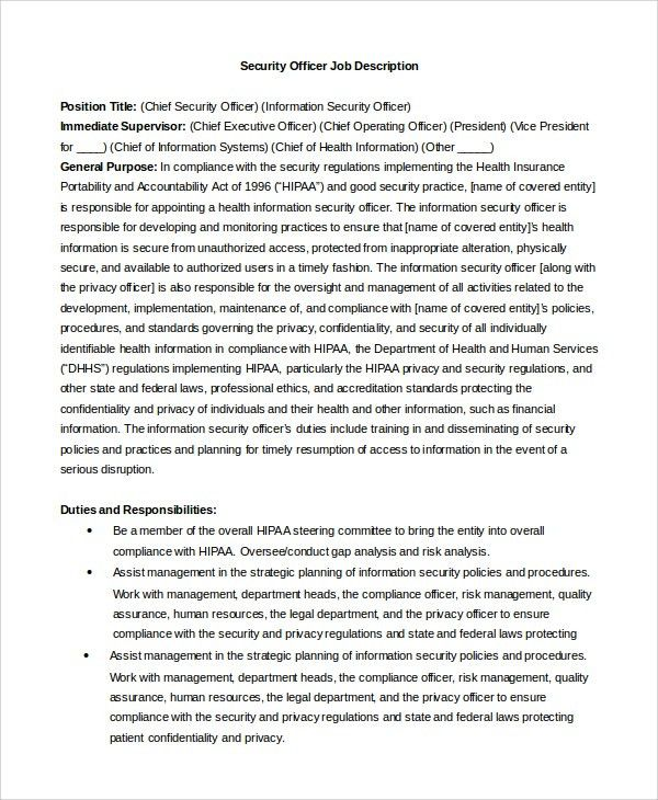 security officer job description subway job description resume