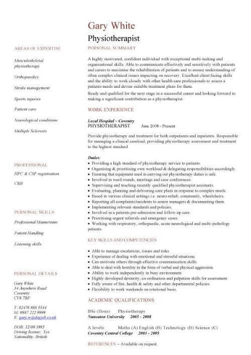 Physiotherapist CV sample