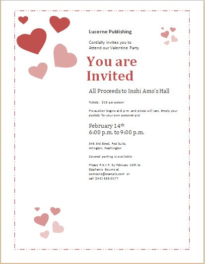 Valentine's Day Celebration Invitation Template for Word ...