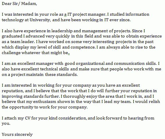 IT Project Manager Cover Letter Example - Learnist.org