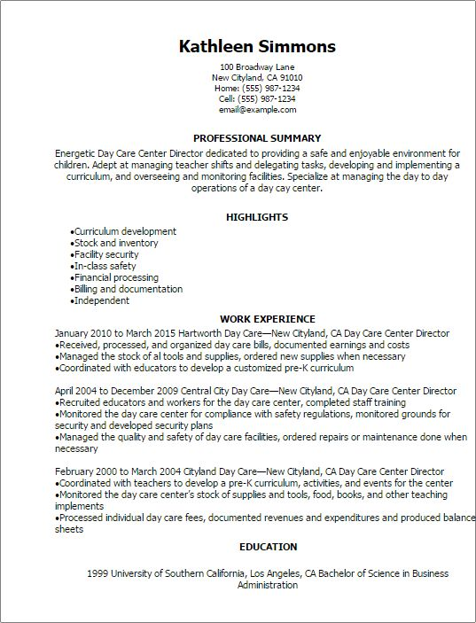 Professional Day Care Center Director Resume Templates to Showcase ...