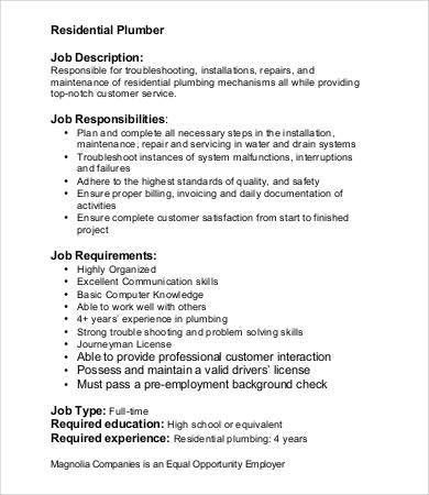 Plumber Job Description - 9+ Free PDF Format Download | Free ...