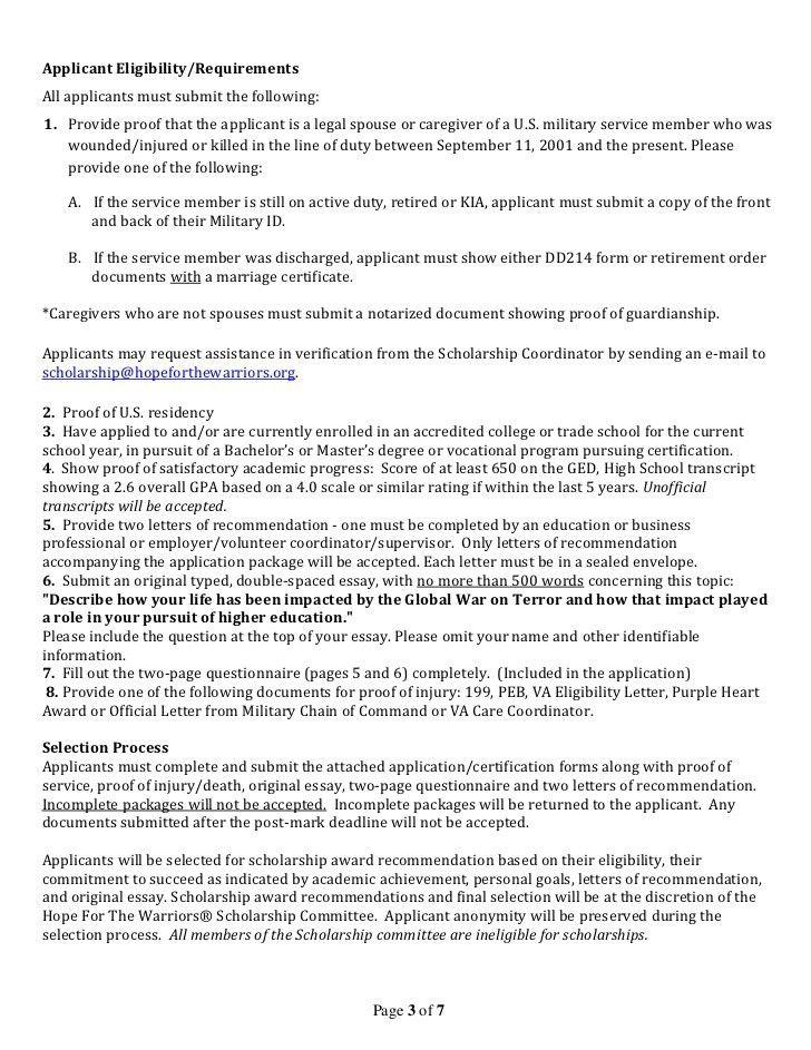 Fall 2012 scholarship application