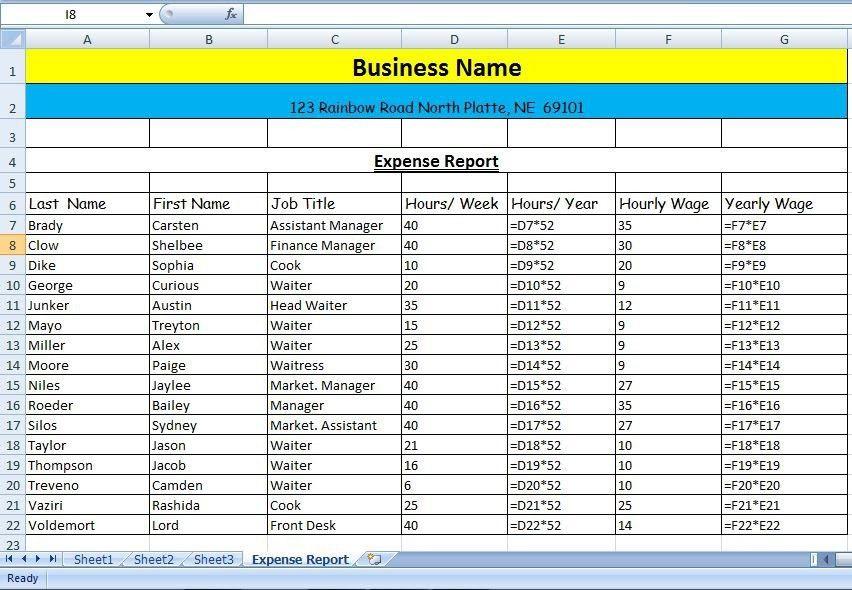 Example: Wage Expense Report - Mrs. Vaziri's Website