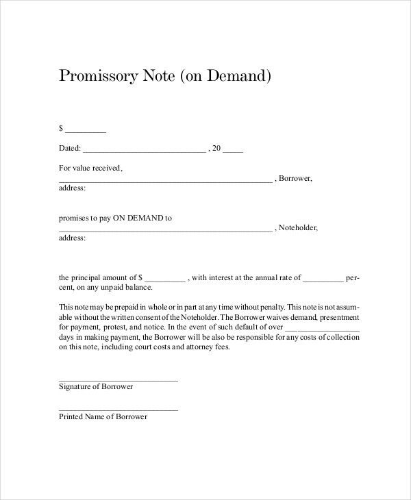 promissory note sample letter | Docoments Ojazlink