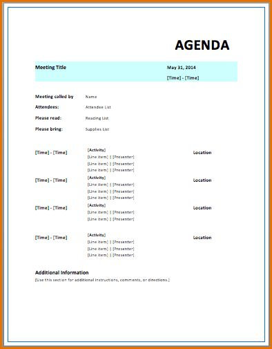 9+ meeting itinerary template | Job Resumes Word