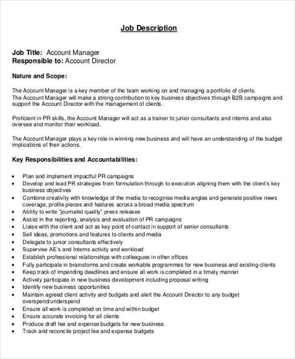 Accounting Manager Job Description. Job Brief Accounting Manager .  Account Manager Job Description